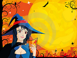 Halloween Card With Young Witch Stock Photography - Image: 16280282