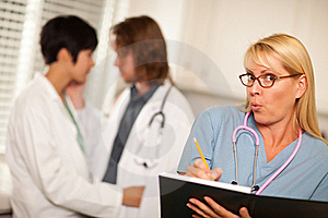 Alarmed Medical Woman Witnesses Colleagues Romance Stock Photo - Image: 16284240