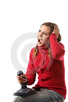 Girl With A Joystick Stock Photos - Image: 16287073
