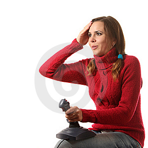 Girl With A Joystick Stock Images - Image: 16287074