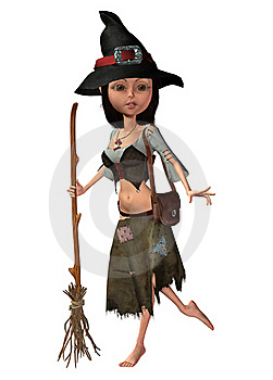 Toon Witch With A Broom Royalty Free Stock Photos - Image: 16288638