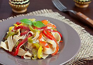 Pasta With Bell Peppers Stock Photo - Image: 16288900