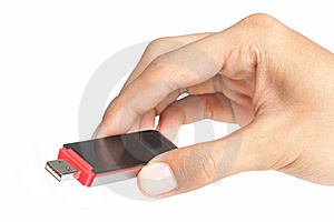 Hand Holding A Flash Disk Royalty Free Stock Images - Image: 16290039