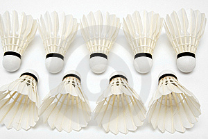 Two Rows Of  White Shuttlecocks Stock Images - Image: 16291894