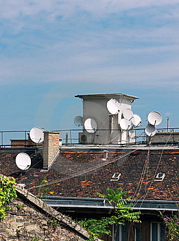 Roof With Antennas Stock Photo - Image: 16293740