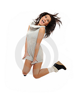 Expressions.Beautiful Funny Winter Woman Jumping Stock Photos - Image: 16298593