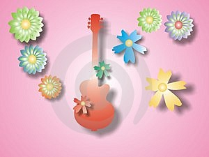 Red Guitar With Flowers Stock Photography - Image: 1632632