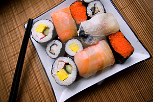 Assorted sushi on plate Stock Photography