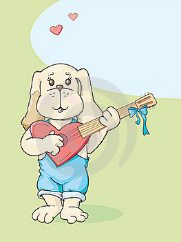 Puppy With Guitar Royalty Free Stock Photos - Image: 16300918