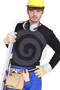 Worker With Ladder Royalty Free Stock Image - Image: 16303726