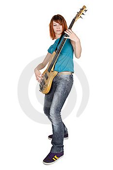 Girl Playing Bass Guitar ,full Body, Isolated Royalty Free Stock Images - Image: 16303949