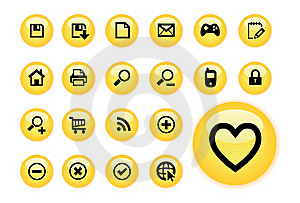 Yellow Glow Web Buttons Stock Photos - Image: 16305443