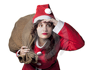 Santa Woman Searching Royalty Free Stock Image - Image: 16307936