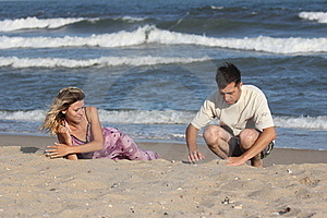 Couple On The Sand Royalty Free Stock Image - Image: 16309526