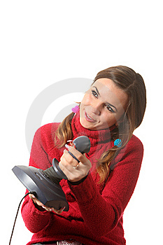 Girl With A Joystick Stock Photo - Image: 16310460