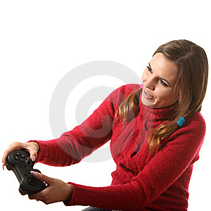 Girl With A Gamepad Royalty Free Stock Photos - Image: 16310468