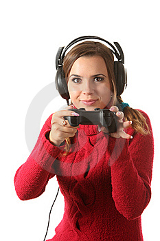 Girl With A Gamepad Royalty Free Stock Image - Image: 16310476