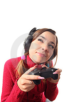 Girl With A Gamepad Stock Image - Image: 16310481