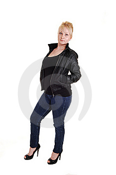 Blond Girl In Leather Jacket. Royalty Free Stock Image - Image: 16310516