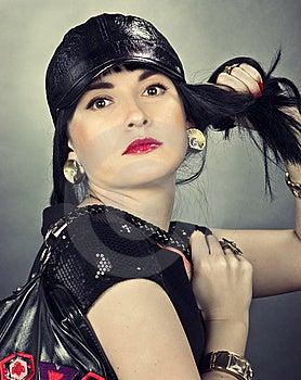 Woman Wearing A Black Hat Stock Photo - Image: 16314090