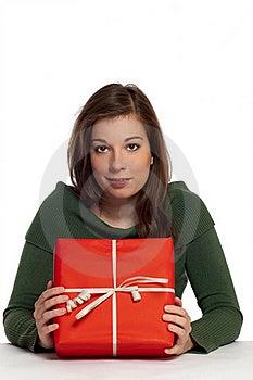 Beautiful Women Holding Red Gift Box Stock Photos - Image: 16314953