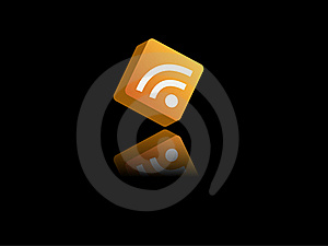 3D RSS Icon With Reflection Royalty Free Stock Photo - Image: 16316005
