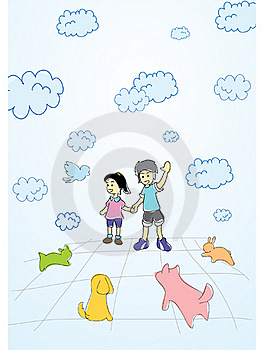 Boy And Girl Enjoy Playing With Pet Stock Image - Image: 16319981