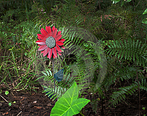 Fake Flower In The Woods Centered Royalty Free Stock Image - Image: 16320316
