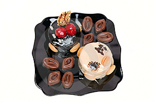 Cake With White And Dark Chocolate And Chocolates Royalty Free Stock Images - Image: 16320789