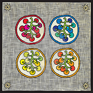 Grape By Color Woodcut Stock Images - Image: 16326734