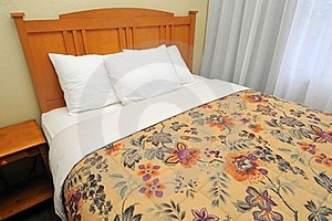 Single Bed With Curtains Royalty Free Stock Images - Image: 16326929