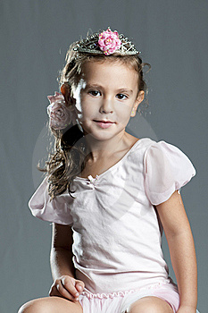 Young Cute Girl Princess Against Grey Background Stock Photos - Image: 16333583