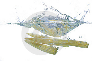 Fresh Babycorn Splash Stock Photos - Image: 16335033