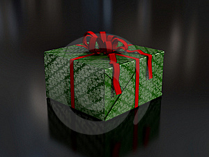 Present In Green Wrapping Paper Royalty Free Stock Image - Image: 16336546