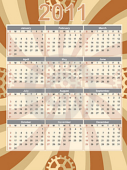Gear Theme 2011 Brown Swirl Calendar Stock Images - Image: 16338364