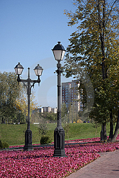 Two Lamps In The Autumn Park. Royalty Free Stock Images - Image: 16340659