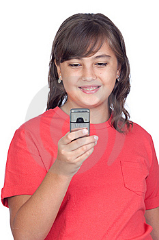 Adorable Preteen Girl With A Mobile Stock Photos - Image: 16342933