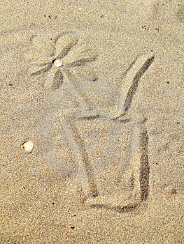 Drawing  On Sand Stock Images - Image: 16343064