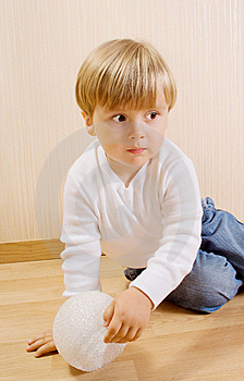 The Child With White Ball Royalty Free Stock Photography - Image: 16356397