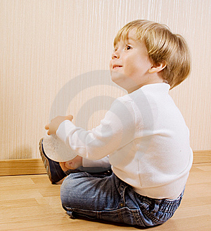 The Child With White Ball Stock Photos - Image: 16356403