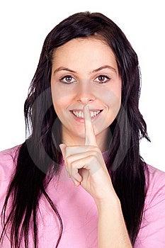 Brunette Girl Ordering Silence Stock Photos - Image: 16359293