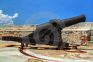 Old Rusty Cannon On A Castle Stock Photos - Image: 16360543