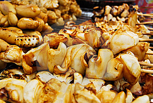 Many Of Grilled Squid In Fresh Market Stock Images - Image: 16360624