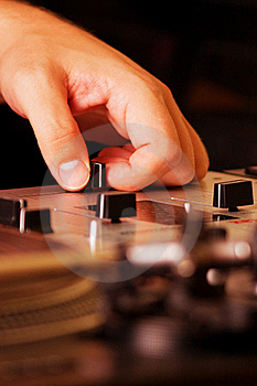Hand Of A Dj Adjusting The Crossfader Stock Photography - Image: 16367392