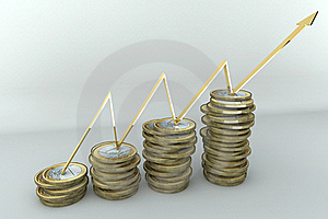Pile Of Coins And Arrow Royalty Free Stock Images - Image: 16372949