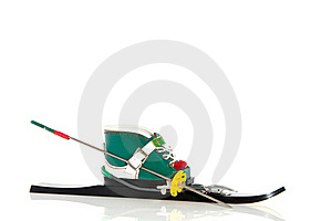 Ski Boot On A Ski Strap Royalty Free Stock Image - Image: 16373696