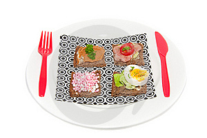 Varied Fillings On Slices Bread Stock Image - Image: 16374041