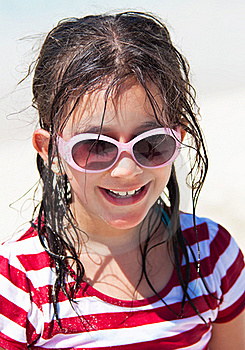Girl With Sunglasses At The Beach Stock Image - Image: 16375241