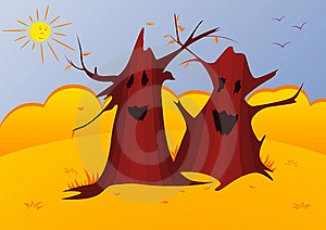 Vector Illustration Of Magic Autumn Trees Royalty Free Stock Image - Image: 16378126