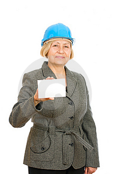 Woman With Blue Hard Hat Stock Photo - Image: 16383740